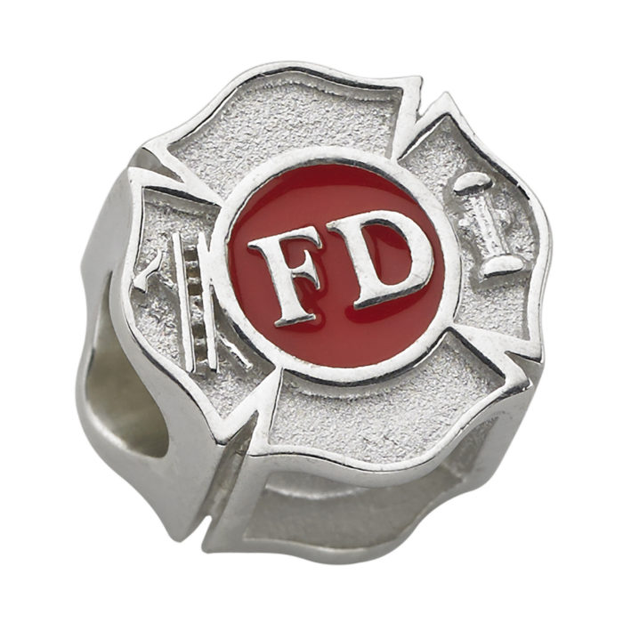 Fire Department Maltese Cross Charm - Fits Pandora Bracelet - Sterling Silver 1