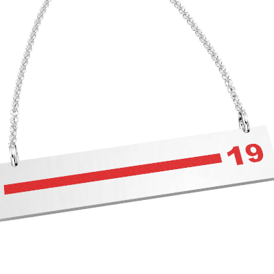 FD Pride Bar - Red Enamel Line Customized with 2-Digit Badge Number 1