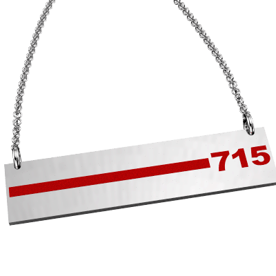 FD Pride Bar - Red Enamel Line Customized with 3-Digit Badge Number 1