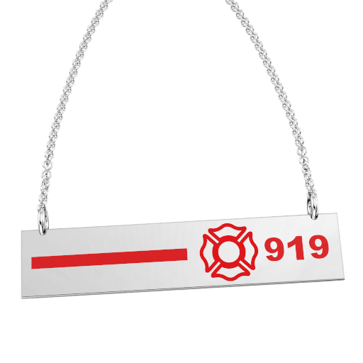 FD Pride Bar - Red Enamel Line and Maltese Cross Customized with 3-Digit Badge Number 1