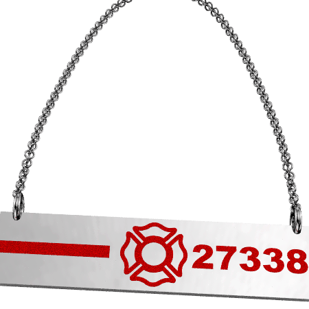 FD Pride Bar - Red Enamel Line and Maltese Cross Customized with 5-Digit Badge Number 1