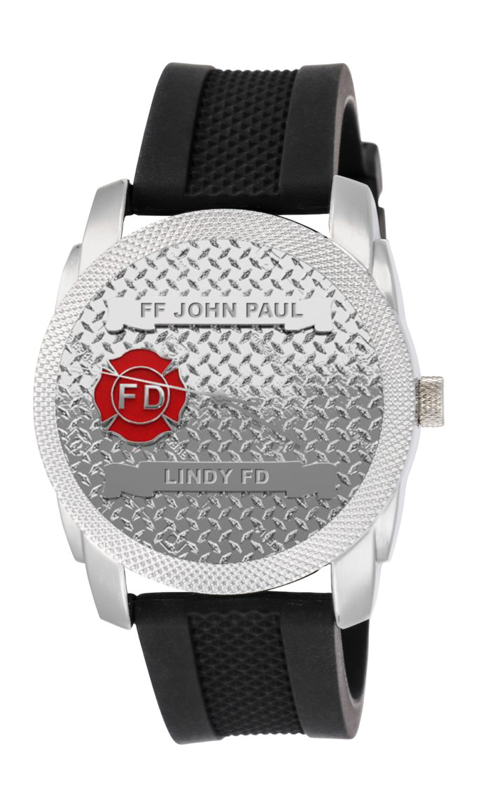 Mens Fire Department Personalized Diamond Plate Texture Watch - Black Band 1