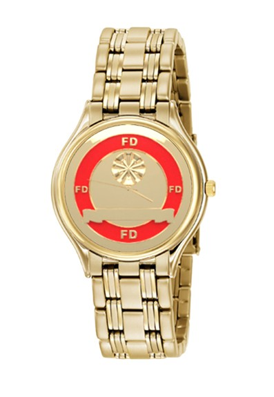 Mens Fire Department Personalized Chiefs Horns Watch - Gold/Red Face 1