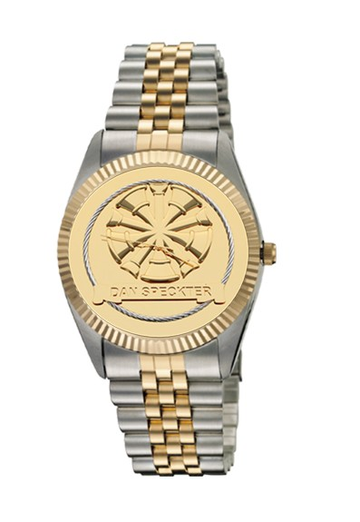Mens Fire Department Personalized Chiefs Horns Watch - Gold Face 1