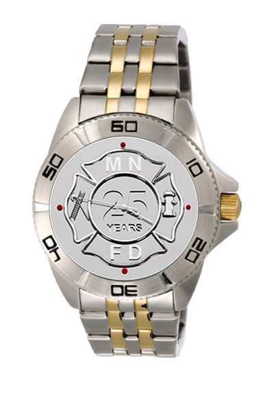 Mens Fire Department Personalized Years of Service Watch - Two-Tone Band 1