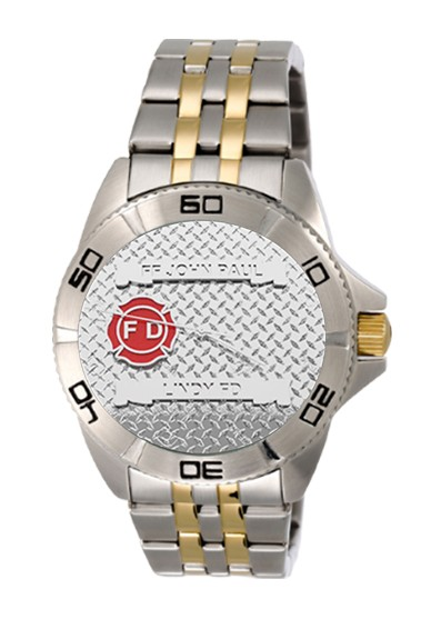 Mens Fire Department Personalized Diamond Plate Texture Watch - Two-Tone Band 1