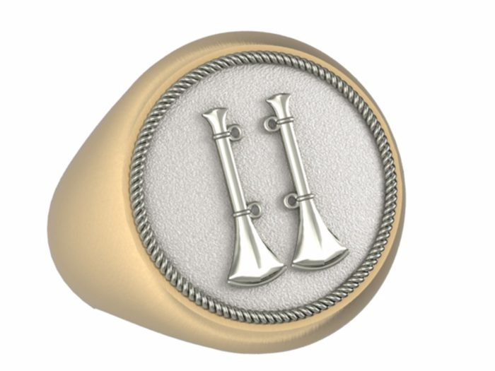 Mens Fire Department Captain Ring - 2 Horns 1