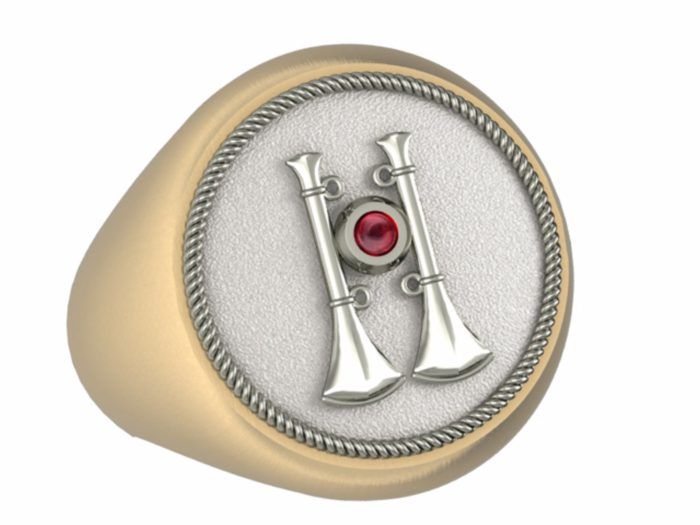 Mens Fire Department Captain Ring with Ruby - 2 Horns 1