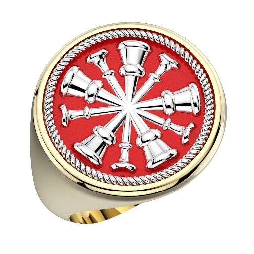 Mens Fire Department Chief Ring - 5 Horns 1