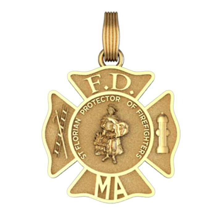 Personalized St. Florian Maltese Cross Pendant - Penny Size 1