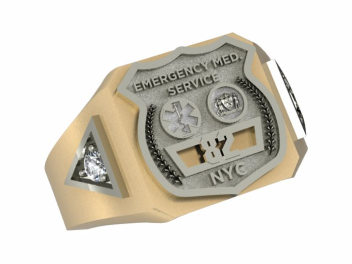 Mens NYC EMS Ring with Side Diamonds 1