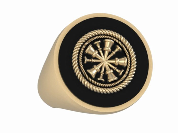 Mens Fire Department Ring - 5 Horn Chief 1