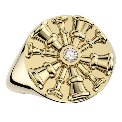 Womens Fire Department Chief Ring - 5 Horns 1
