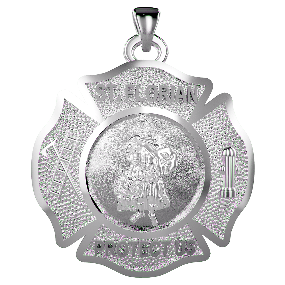 Sterling Silver Maltese Cross with Saint Florian Quarter Size Pendant