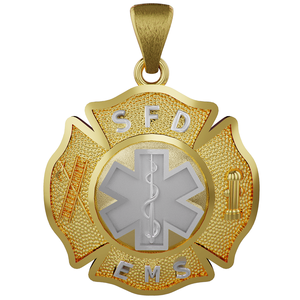 VFD Firefighters Nickel Size Maltese Cross with EMS Insignia