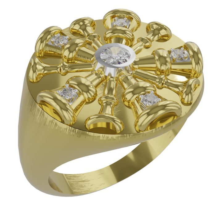 Womens 5-Horn Chief Ring with Diamonds 1
