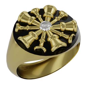 5 Horn Chief Ring with Center Diamond VFD 9